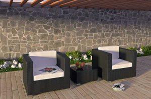 Burrow sofa review -Modway Burrow 3-Piece Espresso Patio Sectional Set with White Cushions
