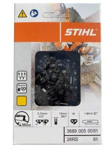 STIHL 26RS 81 Rapid Super Chainsaw Chain 20inch Bar .325 pitch .063 gauge