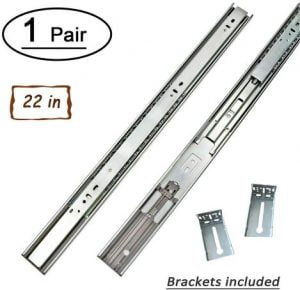 1 Pair 22 Inch Side/Rear Mount Soft Close Drawer Slides Full Extension