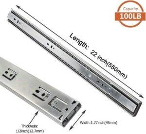 LONTAN 4502S3-22 Heavy Duty Soft Closing Rails for Drawers