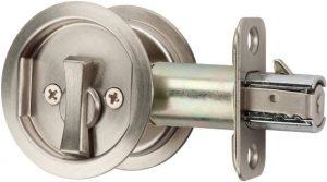Citiloc Round Bedor Bath Privacy Pocket Door Latch Satin Nickel