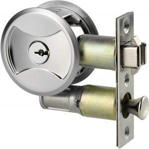Keyed Pocket Sliding Door Lock CL4ENTR Matte Silver